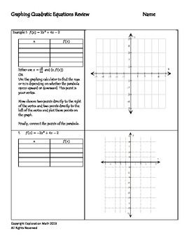 Algebra 1 Worksheets | Quadratic Functions Worksheets