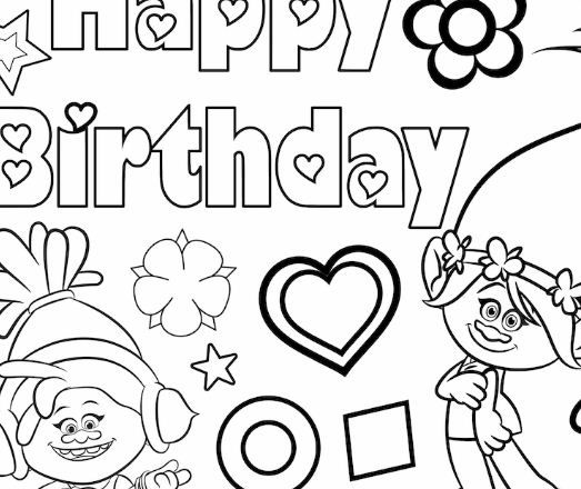 Trolls Coloring Pages Coloringpagesonly Com Birthday Coloring Pages Happy Birthday Coloring Pages Coloring Pages
