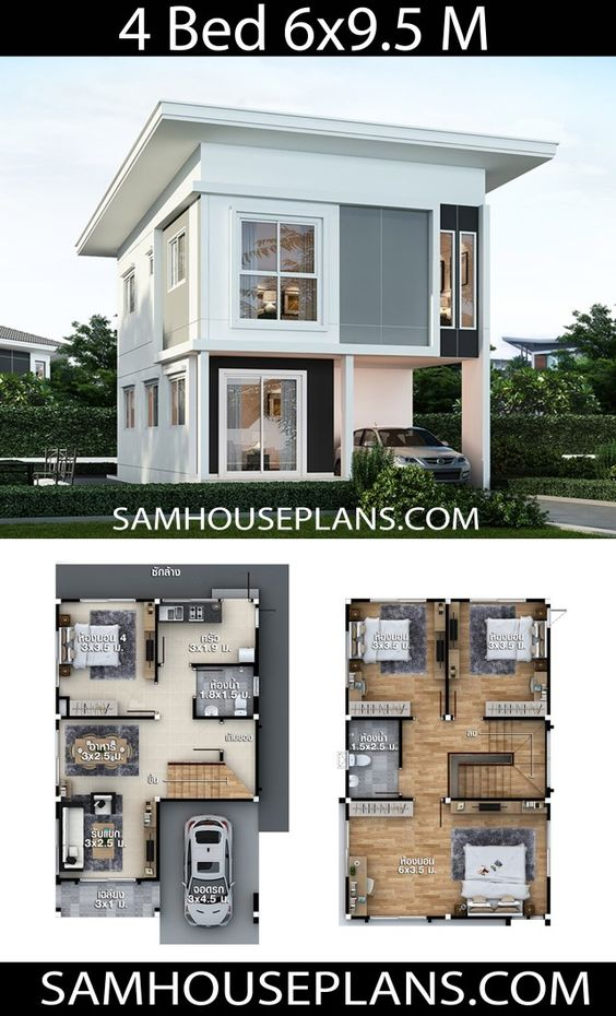 House Plans Idea 6x9.5 with 4 bedrooms - Sam House Plans