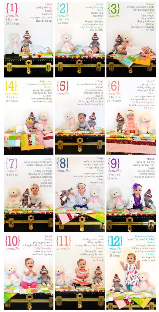 Monthly Baby Pictures for the First Year - what a cute idea!!