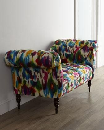 Seating - Recamier-style settee features vibrant, pop-art inspired upholstery to bring bright color and exuberance to the room. Handcrafted diamond tufts and turned legs add a bit of sophistication.<br />