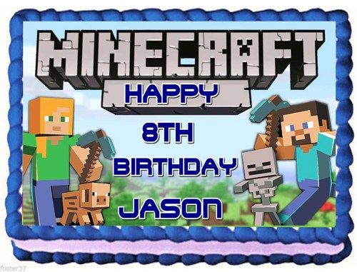Edible Cake Images Minecraft : Minecraft+Cake+Edable+Topper minecraft_edible_cake ...