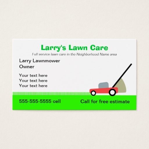 Lawn Care Services Business Card Lawn care, Business cards and - lawn care invoices