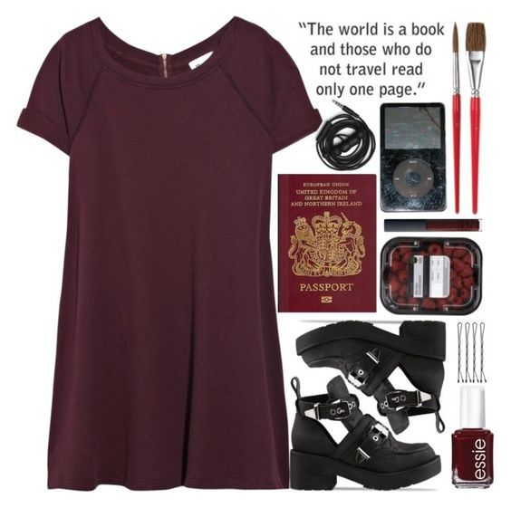 """""""Oxblood"""" by dynh ❤ liked on Polyvore featuring Vanessa Bruno, Jeffrey Campbell, Essie, Urbanears and NARS Cosmetics"""