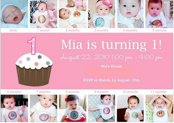 Monthly Baby Photos on First Birthday Party Invitation: Birthday Party Invitations, Good Ideas, Girl, Cute Ideas, Behr Ideas, 1St Birthday, Birthday Month, Birthday Ideas