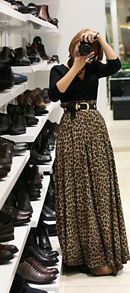 leopard print maxi skirt: