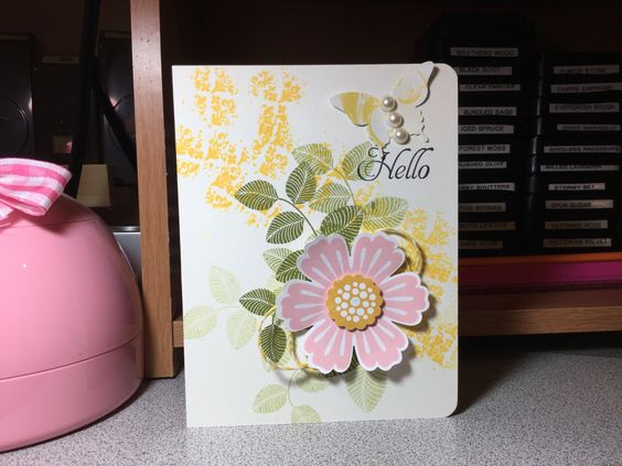 Card using Stampin Up! Blossom punch.
