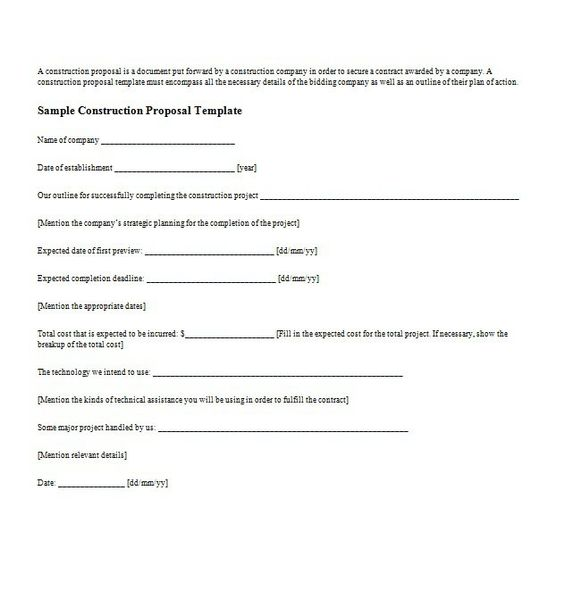 business proposal templates letter samples doc sample contract - bidding template