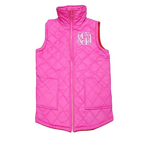 Soft & Luxurious Monogram Quilted Vest Reversible Soft Quilted Vest... ($30) ❤ liked on Polyvore featuring outerwear, vests, light pink, women's clothing, pink rain jacket, quilted vest, zipper vest, pink quilted vest and rain jacket