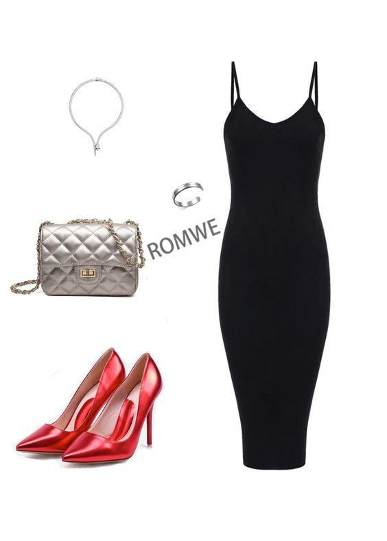 ROMWE Women's Basic Slim Fit Sleeveless Spaghetti Strap Midi Dress https://goo.gl/h5konR