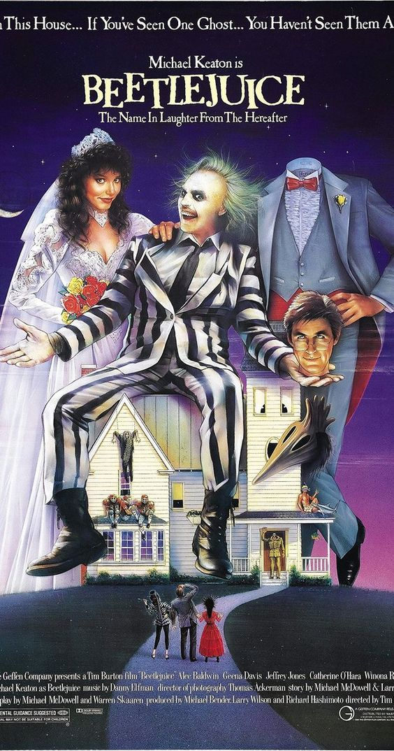 "Directed by Tim Burton.  With Alec Baldwin, Geena Davis, Michael Keaton, Annie McEnroe. A couple of recently deceased ghosts contract the services of a ""bio-exorcist"" in order to remove the obnoxious new owners of their house."