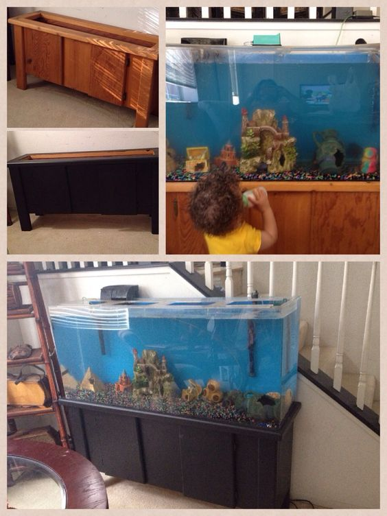 I used diy chalk paint on my fish tank stand it took 2 for Fish tank paint