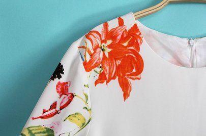 Beige Three Quarter Length Sleeve Florals Dress - Sheinside.com Mobile Site
