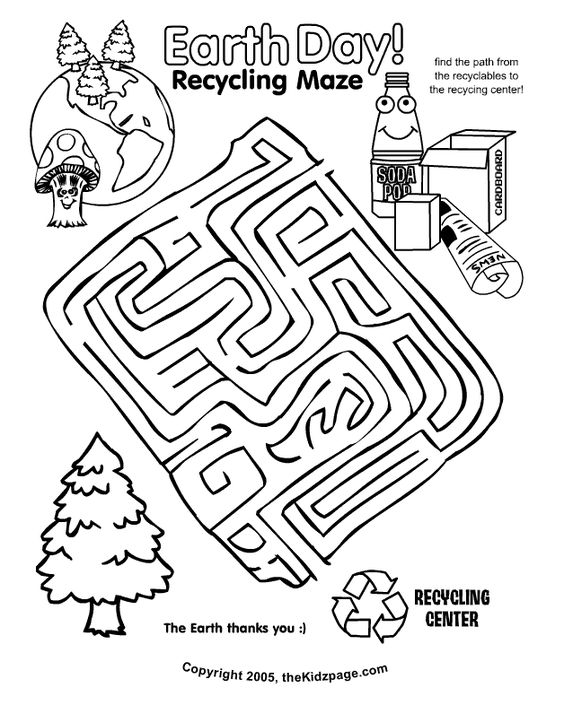 Earth Day Recycling Maze Activity Sheet - Free Coloring Pages for ...