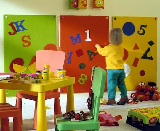 great felt boards for creativity.  attach to the wall with 3M velco to remove them without leaving a mark or hole.  this is a great site for home and project ideas