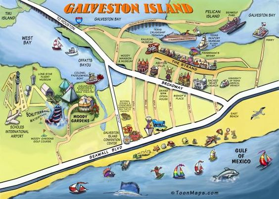 Image detail for Galveston Texas Cartoon Map Digital Art – Galveston Tourist Map