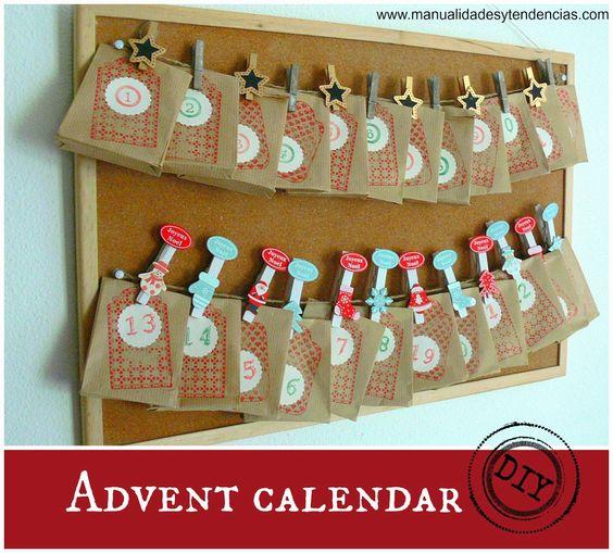 Handmade advent calendar www.manualidadesytendencias.com #calendariodeadviento #adventcalendar #Christmascrafts