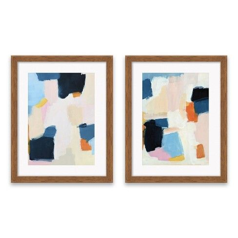 Set Of 2 16 25 X20 25 Blue And Pink Abstract Framed Print Decorative Wall Art Project 62 Target Framed Wall Canvas Pink Projects Abstract Wall Canvas