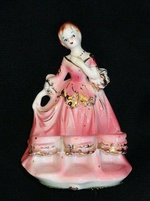 Vintage Japan Porcelain Ceramic Figural Lady Tube Lipstick Holder