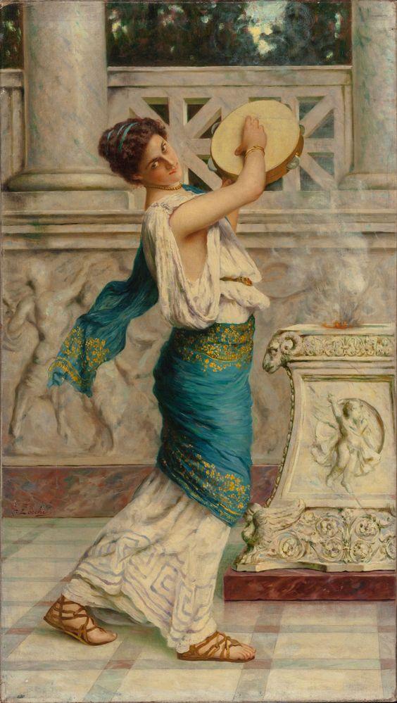 GUGLIELMO ZOCCHI (Italian, b. 1874), Roman Woman Playing the Tambourine, Oil on canvas, 31-5/8 x 17-7/8 inches (80.3 x 45.4 cm)