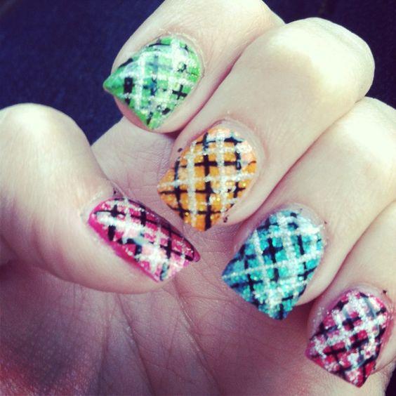 Colorful argyle nails!