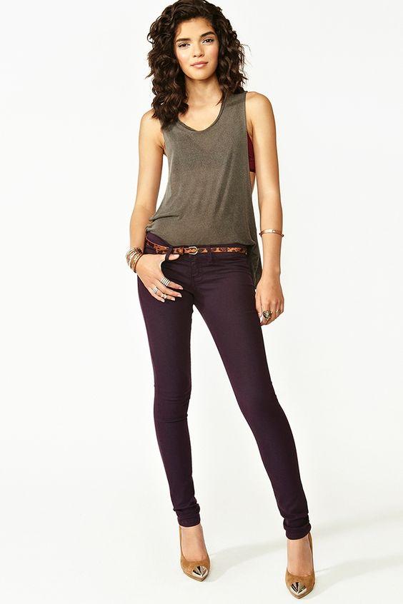 Dream Skinny Jeans in Plum
