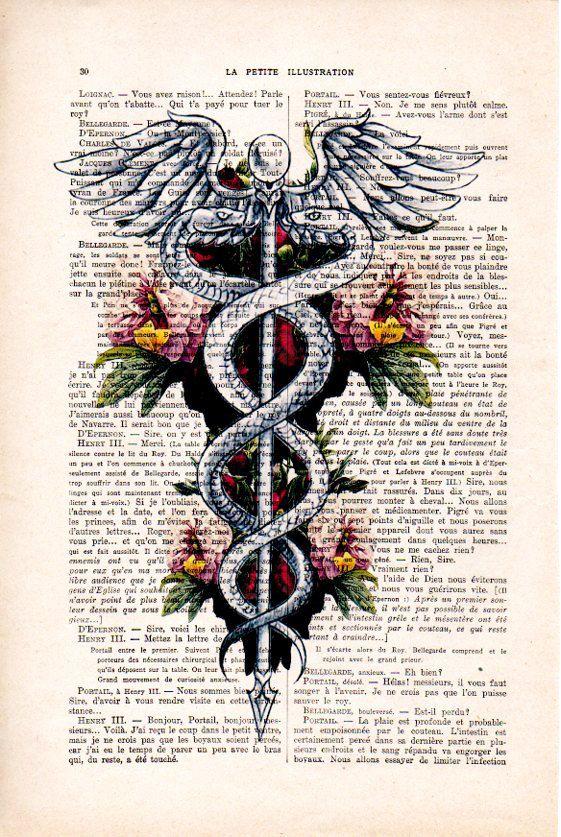 Caduceus Symbol, Medical Art, Medicine, Rod of Asclepius Poster, Doctor Office Art, Doctor Symbol Ar