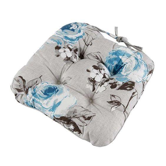 Grey Floral Seat Pad   Dunelm