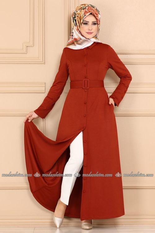 Modaselvim Elbise Onden Dugmeli Kemerli Elbise Ferace Kprs6845 Kiremit Moda Stilleri Elbise Elbise Modelleri