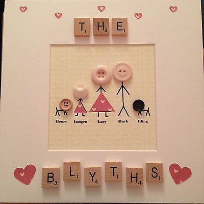 Stickmen Scrabble Box Frame Personalised Gift Wedding Birthday Mothers Day