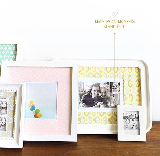 Picture frames with patterned matte, via @Bri W. emery / designlovefest MAKE IT / 16