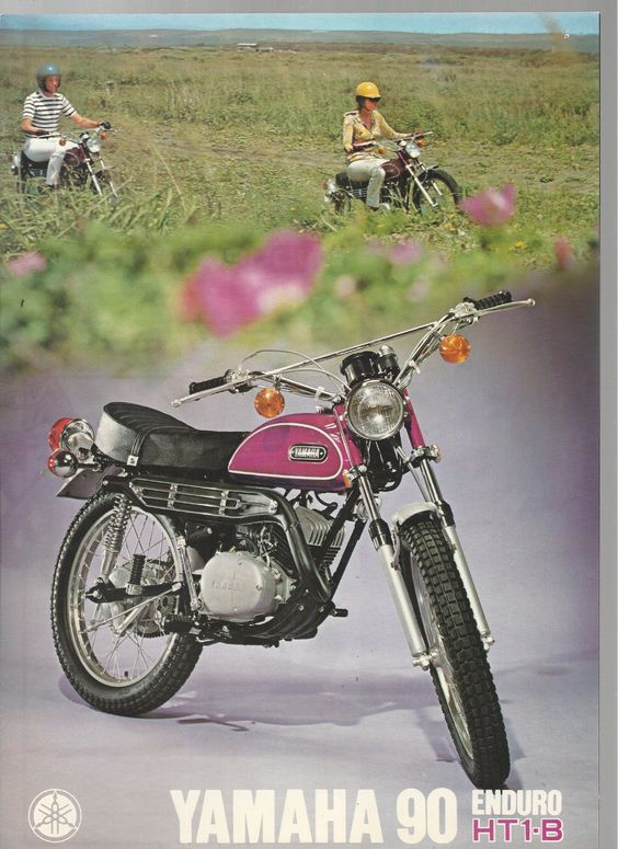 yamaha 90 enduro ht1b motorcycle 4 page color brochure. Black Bedroom Furniture Sets. Home Design Ideas