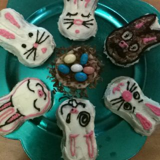 Bunnies decorated by Justin and I with a marzipan and toasted cocoanut nest in the middle