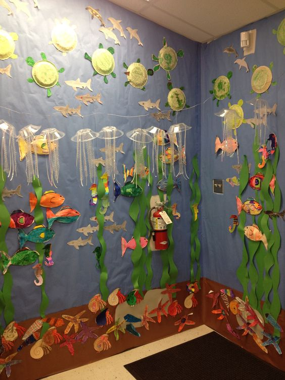"""Completed ocean """"aquarium"""" with ocean animals  We are so doing this for open house!!!!"""