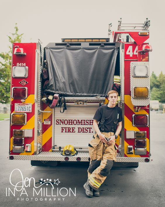 Senior boy. Fire station session. Senior firefighter. By Jen In A Million Photography
