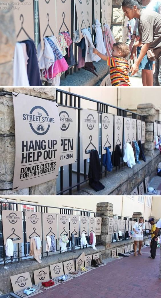 The ONG who created a pop up store for people to donate clothes to the homeless