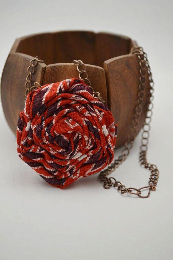 Union jack ribbon rose necklace