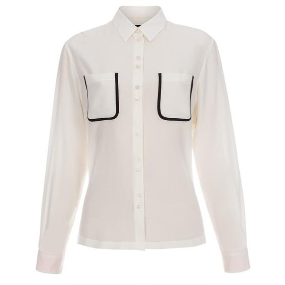 Paul Smith Women's White Silk Shirt With Black Pocket Trims ($425) ❤ liked on Polyvore featuring tops, white, white silk top, cuff shirts, shirts & tops, white shirt and silk top
