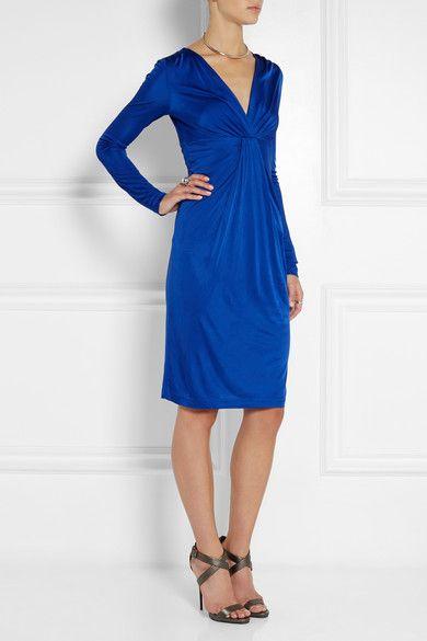 Diane von Furstenberg Wrap-effect cobalt blue satin-jersey dress ...