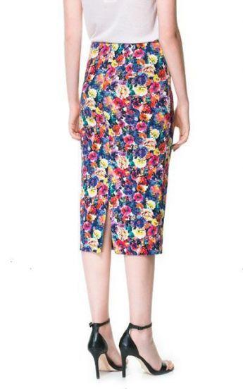 Multi Floral Split Straight Skirt - Sheinside.com Mobile Site