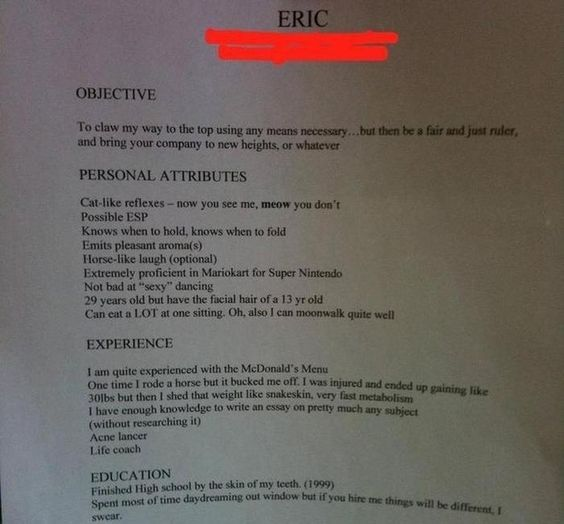 This resume from the most overqualified candidate out there - see resumes