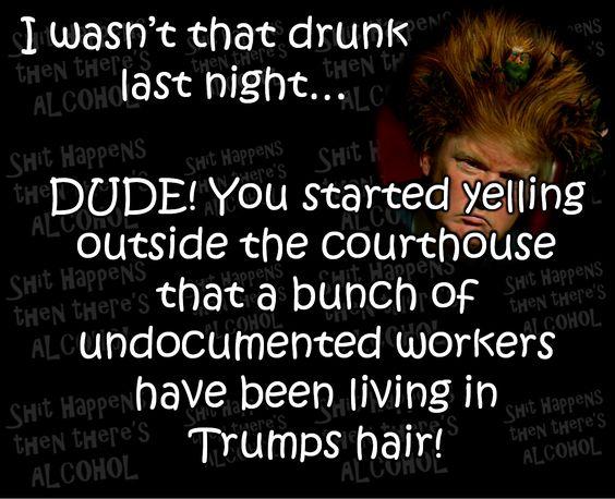 Trump Jokes.... I wasn't that drunk last night.....