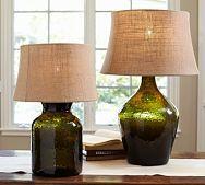 Clift Glass Table Lamp Base - Green...the shades look like burlap...kinda like it!