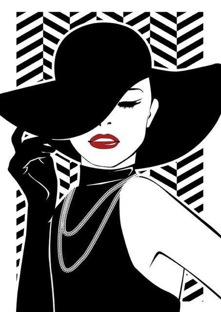 Diamond Painted Beautiful Girl Black White Portrait Pop Art Painting Pop Art Girl Pop Art