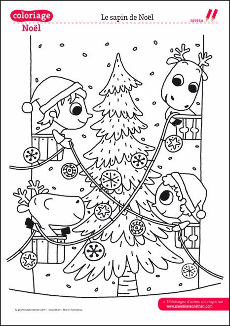 Coloriage de no l imprimer le sapin et sa d co dessin for Decoration de noel dessin