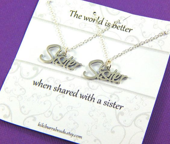 Sisters Gift Set Set of two Sisters necklaces by #Kikiburrabeads #sistersnecklace#sistersgift#giftboxedjewelry#friendshipnecklace#sterlingsilver www.kikiburrabeads.etsy.com @kikiburrabeads