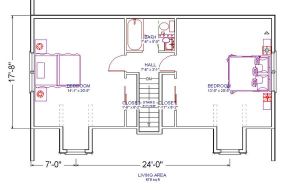 Floor plan idea for attic bedroom bathroom conversion only for Second floor addition floor plans