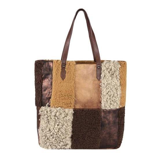 OBC DAMEN PELZTASCHE Shopper Handtasche Hobo Bag Leder Optik