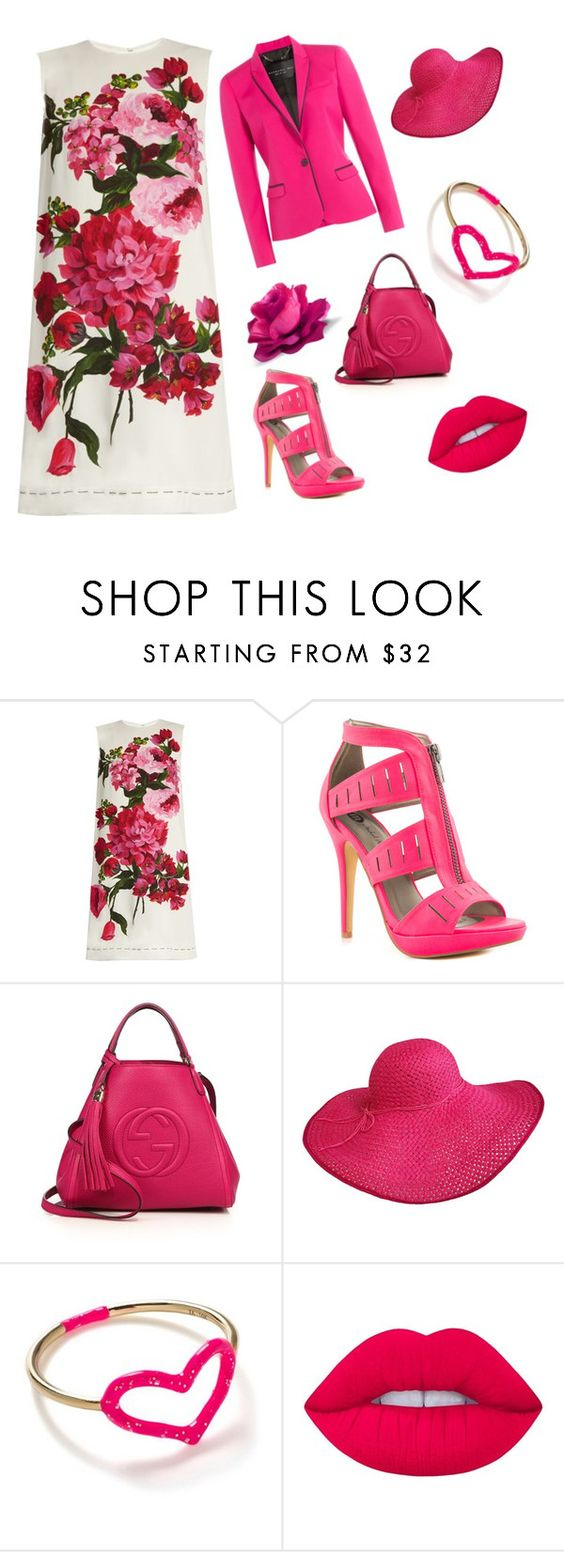 """""""Floral pink 💗💗💗"""" by dharshanaarun ❤ liked on Polyvore featuring Dolce&Gabbana, Michael Antonio, Gucci, Jordan Askill, Lime Crime and Barbara Bui"""