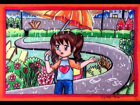 Menggambar Dan Mewarnai Gambar Hujan Dg Oilpastel Staedtler 12